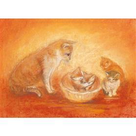AMS Obrázek Marjan van Zeyl - Kočka s koťaty
