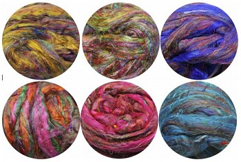 Hedvábné vlákno sárí 5 gr. - různé barvy