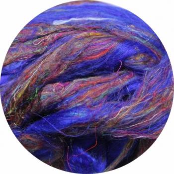 Hedvábné vlákno sárí 5 gr. - fialovo-modré