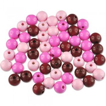 MEYCO Dřevěné korálky kulaté - průměr 10 mm - mix růžových barev
