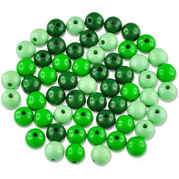 MEYCO Dřevěné korálky kulaté - průměr 10 mm - mix zelených barev