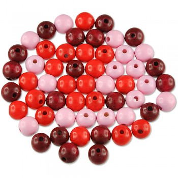 MEYCO Dřevěné korálky kulaté - průměr 10 mm - mix červených barev