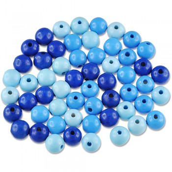 MEYCO Dřevěné korálky kulaté - průměr 10 mm - mix modrých barev