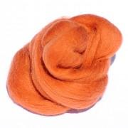 Ovčí vlna barvená česaná 10g - jemná - 39 červeno-oranžová